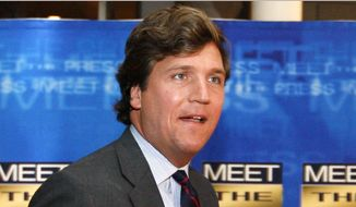 In this Nov. 17, 2007, file photo, political commentator Tucker Carlson arrives for the 60th anniversary celebration of NBC's Meet the Press at the Newseum in Washington. Fox News Channel says that veteran pundit Carlson will replace Megyn Kelly in the network's coveted 9 p.m. time slot sandwiched between Bill O'Reilly and Sean Hannity. Kelly announced on Tuesday, Jan. 3, 2017, that she is leaving Fox to go to NBC News.  (AP Photo/Charles Dharapak, File)