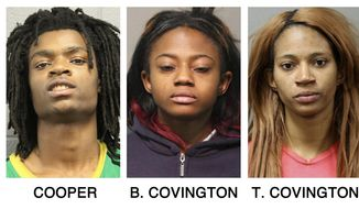 These booking photos provided by the Chicago Police Department show, from left, Tesfaye Cooper, Brittany Covington, Tanishia Covington and Jordan Hill, four people charged, Thursday, Jan. 5, 2017, with aggravated kidnapping and taking part in a hate crime after allegedly beating and taunting a man in a video broadcast live on Facebook. (Chicago Police Department via AP)