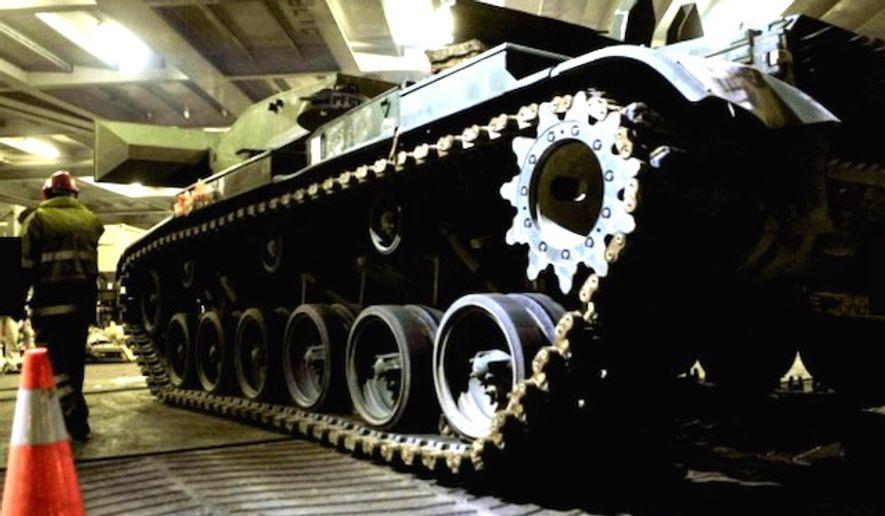 U.S. Army tanks arrive in Bremerhaven, Germany, on Jan. 6. 2017. (U.S. Army)