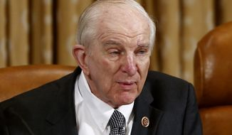 FILE - In this June 4, 2013 file photo, Rep. Sam Johnson, R-Texas speaks on Capitol Hill in Washington.  Johnson has announced he will retire at the end of the term. The 86-year-old Johnson was a fighter pilot in Vietnam and Korea before his election to Congress in 1990. (AP Photo/Charles Dharapak)