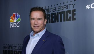 """This Dec. 9, 2016, image released by NBC shows Arnold Schwarzenegger, the new boss of """"The New Celebrity Apprentice,"""" at a press junket in Universal City, Calif. (Paul Drinkwater/NBC via AP) ** FILE **"""