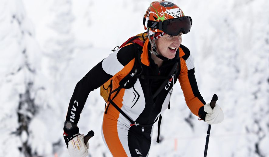 In this Jan. 16, 2016 photo, Ben Parsons competes in the Whitefish Whiteout at Whitefish Mountain Resort in Whitefish, Mont. Parsons, 36, died Thursday, Jan. 5, 2017, of injuries suffered in an avalanche in Glacier National Park. Parsons was an endurance athlete who competed in mountain bike and ski mountaineering races. (Greg Lindstrom/Flathead Beacon via AP)