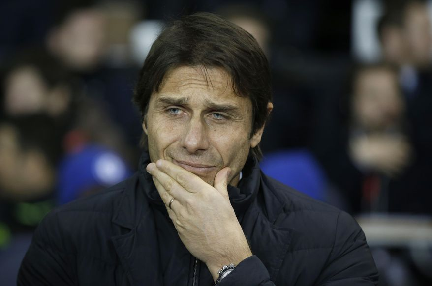 Chelsea's manager Antonio Conte looks on from the sideline ahead of the English Premier League soccer match between Tottenham Hotspur and Chelsea at White Hart Lane stadium in London, Wednesday, Jan. 4, 2017. (AP Photo/Alastair Grant)
