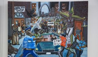 In this Jan. 5, 2017, photo, a painting by David Pulphus hangs in a hallway displaying paintings by high school students selected by their member of Congress on Capitol Hill in Washington. Rep. Duncan Hunter, R-Calif., has removed a painting that showed a pig in a police uniform, one of hundreds of artworks on display at the Capitol and sponsored by a member of Congress. Joe Kasper, a spokesman for Hunter, says the lawmaker unscrewed the artwork from the display and returned it to the office of Missouri Democratic Rep. William Lacy Clay. (AP Photo/Zach Gibson)