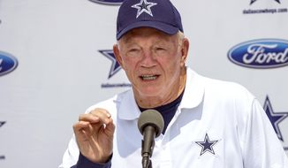 FILE - In this July 29, 2016, file photo, Dallas Cowboys owner Jerry Jones answers a question during a news conference at the start of NFL football training camp in Oxnard, Calif. Jones expects defensive end Randy Gregory to play for the team again despite a suspension that will last at least a year. (AP Photo/Gus Ruelas, File)