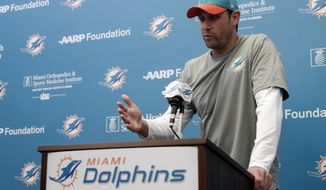 Miami Dolphins head coach Adam Gase talks to the news media following an NFL football practice, Thursday, Jan. 5, 2017, in Davie, Fla. The Dolphins play the Pittsburgh Steelers in a playoff game on Sunday. (AP Photo/Lynne Sladky)