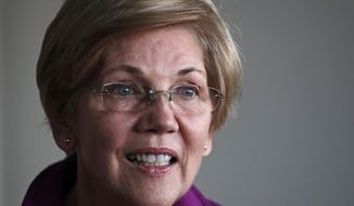 FILE - In this Thursday, Dec. 15, 2016 file photo, Sen. Elizabeth Warren, D-Mass. listens to a question during an interview at her office in Boston. Warren said Friday, Jan. 6, 2017, that she will run for re-election in 2018. (AP Photo/Charles Krupa, File)
