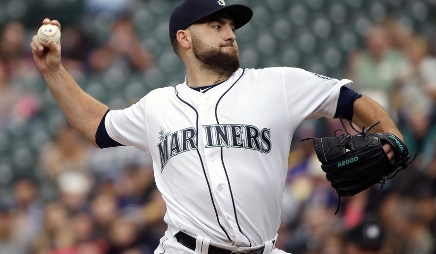 FILE - In this June 9, 2016, file photo, Seattle Mariners starting pitcher Nathan Karns throws against the Cleveland Indians during the first inning of a baseball game in Seattle. The Kansas City Royals have acquired right-hander Karns from the Mariners for outfielder Jarrod Dyson, solidifying a pitching staff that lost workhorse Edinson Volquez to free agency. (AP Photo/Ted S. Warren, File)