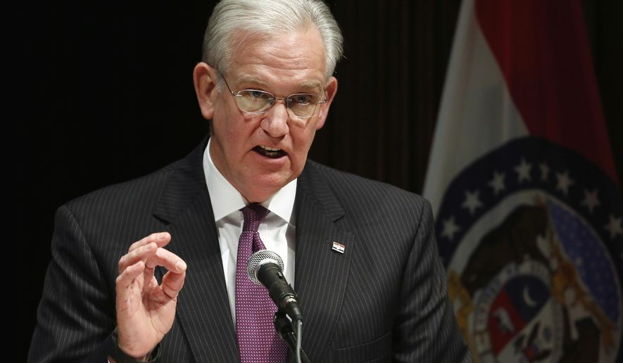 FILE - In this May 13, 2016 file photo, Missouri Gov. Jay Nixon speaks during a news conference at the conclusion of the legislative session at the Capitol in Jefferson City, Mo. Nixon has granted more pardons than any other Missouri governor in the past 30 years. The Democrat's eight years as governor will come to an end Monday, Jan. 10, 2017, when he is succeeded by Republican Gov.-elect Eric Greitens. (AP Photo/Jeff Roberson, File)