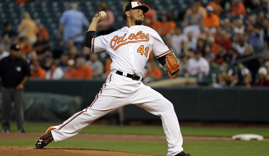 FILE - In this Sept. 15, 2016, file photo, Baltimore Orioles starting pitcher Yovani Gallardo throws to a Tampa Bay Rays batter during the first inning of a baseball game in Baltimore. The Mariners landed another option for their pitching rotation on Friday, Jan. 6, 2017, acquiring right-handed pitcher Yovani Gallardo from the Baltimore Orioles for outfielder Seth Smith. (AP Photo/Patrick Semansky, File)
