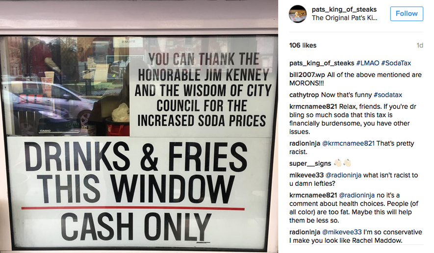 A new sign telling patrons of Pat's King of Steaks in Philadelphia to blame the city's political leadership for the hike in soda prices due to the city's new soda surtax. (Via Instagram: https://www.instagram.com/pats_king_of_steaks/)