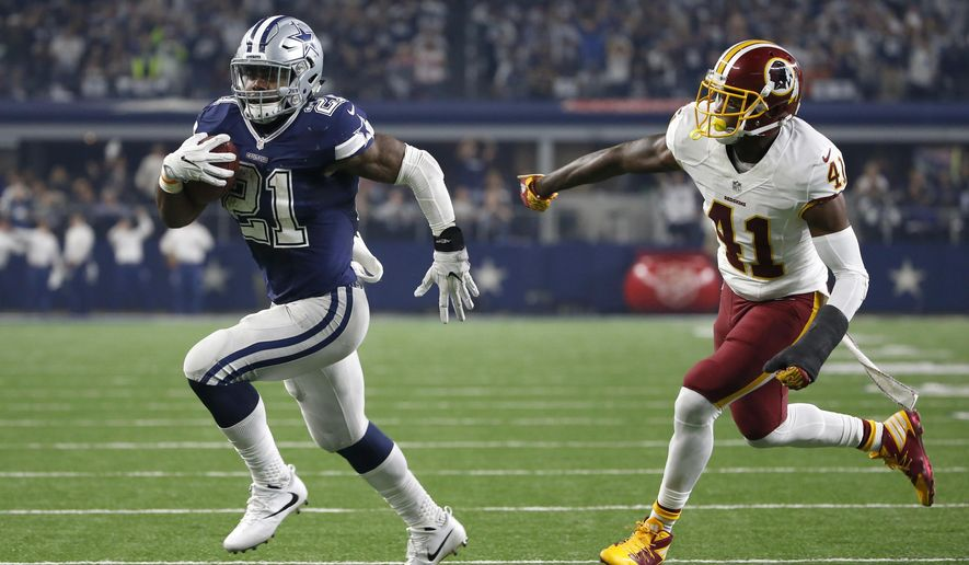 FILE - In this Nov. 24, 2016, file photo, Dallas Cowboys running back Ezekiel Elliott (21) runs the ball as Washington Redskins' Will Blackmon (41) gives chase in the second half of an NFL football game,  in Arlington, Texas. NFL teams ran the ball less than ever in 2016 yet six playoff teams had a 1,000-yard rusher.Ezekiel Elliot (Cowboys), Jay Ajayi (Dolphins), Le'Veon Bell (Steelers), LeGarrette Blount (Patriots), Devonta Freeman (Falcons) and Lamar Miller (Texans) each topped 1,000 and are still playing. Last year, Adrian Peterson was the only 1,000-yard rusher in the playoffs.(AP Photo/Ron Jenkins, File)