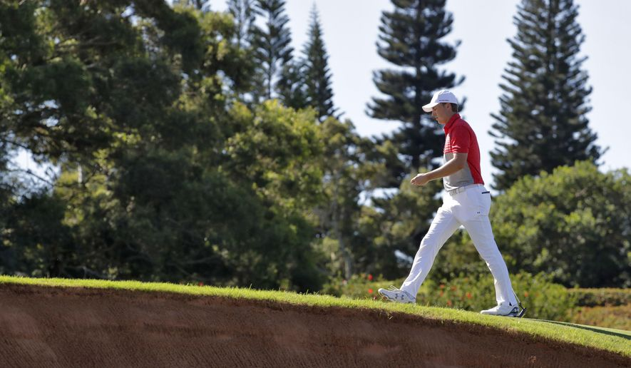 Jordan Spieth walks up the third fairway during the second round of the Tournament of Champions golf event, Friday, Jan. 6, 2017, at Kapalua Plantation Course in Kapalua, Hawaii. (AP Photo/Matt York)