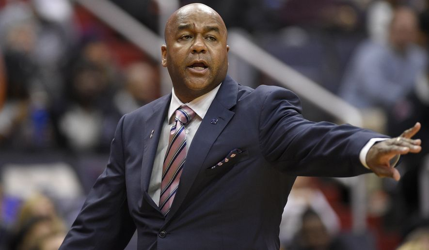 Georgetown head coach John Thompson III gestures during the first half of an NCAA college basketball game against Butler, Saturday, Jan. 7, 2017, in Washington. (AP Photo/Nick Wass)