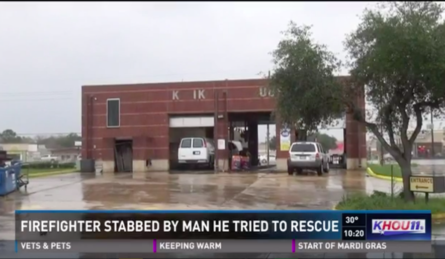 Capt. Kenneth Willingham, aHouston fireman, was stabbed in the eye on Jan. 6, 2017, by a man he was attempting to rescue, KHOU reported. (Screen capture, KHOU.com)