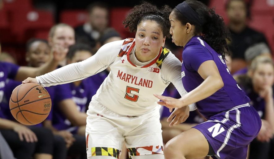 Maryland guard Destiny Slocum, left, drives against Northwestern guard Ashley Deary in the first half of an NCAA college basketball game, Saturday, Jan. 7, 2017, in College Park, Md. (AP Photo/Patrick Semansky)