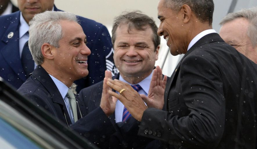 FILE - In this April 7, 2016 file photo, President Barack Obama right, jokes with Chicago Mayor Rahm Emanuel left, while arriving at O'Hare International Airport in Chicago. People are expected to line up in frigid temperatures Saturday, Jan. 7, 2016 for tickets to President Barack Obama's farewell speech in his hometown of Chicago. Obama plans to speak to supporters there on Tuesday night. (AP Photo/Paul Beaty File)