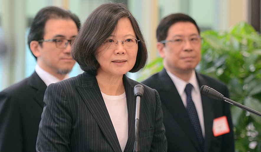 Taiwan's President Tsai Ing-wen delivers a speech before traveling to visit Central American allies including a U.S. transit, Saturday, Jan. 7, 2017, at the Taoyuan International Airport in Taouyuan, Taiwan. Tsai pledged to bolster Taiwan's presence on the international stage on her visit four Central American allies on a trip that includes U.S. transits and looks set to raise China's ire. (Central News Agency via AP)