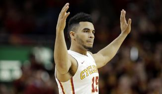 Iowa State guard Naz Mitrou-Long celebrates after making a 3-point basket during the first half of an NCAA college basketball game against Texas, Saturday, Jan. 7, 2017, in Ames, Iowa. (AP Photo/Charlie Neibergall)