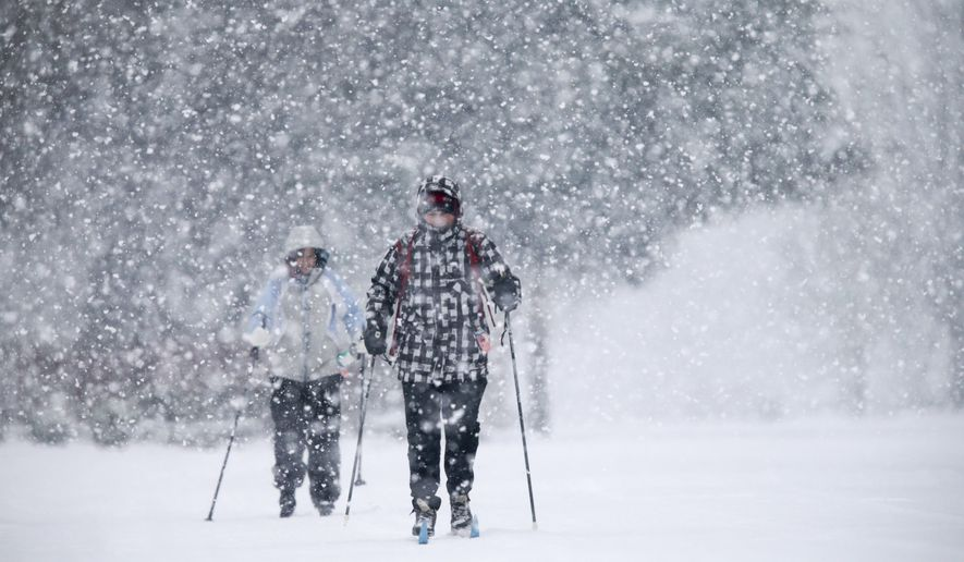 As snow continues to fall in Eugene Ore., Erik Berg-Johansen, right, and wife Valerie Berg-Johansen cross country ski to the store for some groceries along Sorrel Way on Saturday, Jan. 7, 2017. (AP Photo via Collin Andrew/The Register-Guard)