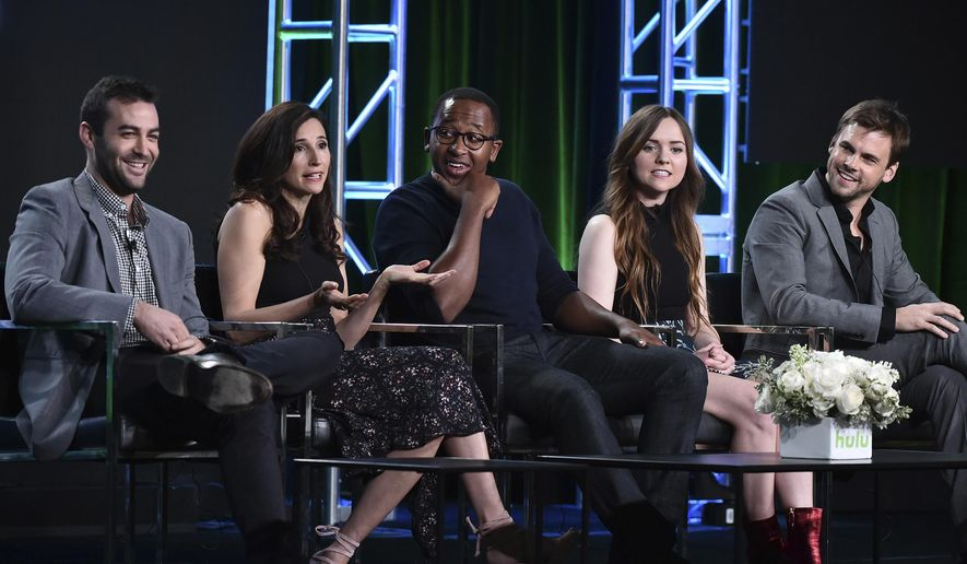 "Zander Lehmann, from left, Michaela Watkins, Nyasha Hatendi, Tara Lynne Barr and Tommy Dewey attend the ""Casual"" panel at the Hulu portion of the 2017 Winter Television Critics Association press tour on Saturday, Jan. 7, 2017 in Pasadena, Calif. (Photo by Vince Bucci/Invision/AP)"