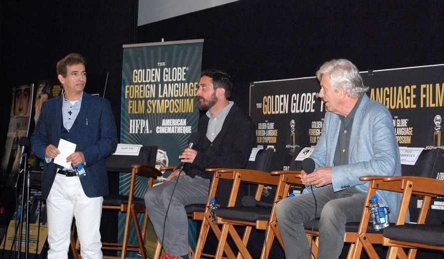 Chilean director Pablo Larrain (center) was one of the panelists at a Golden Globes foreign film nominees event Saturday in Hollywood.  (Ed Rampell)