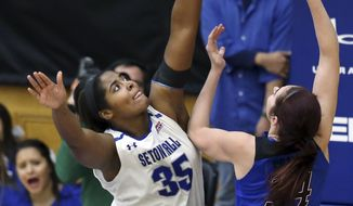 Seton Hall center Lubirdia Gordon (35) goes up to block a shot by DePaul forward Jacqui Grant (34) during the first half of an NCAA college basketball game Sunday, Jan. 8, 2017, in South Orange, N.J. (AP Photo/Mel Evans)