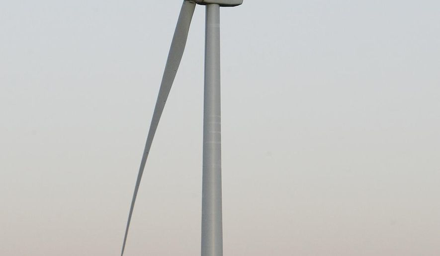 FOR RELEASE SUNDAY, JANUARY 8, 2017, AT 12:01 A.M. CST.- A wind turbine pictured here on Wednesday, December 28, 2016 was built south of the Central Community College-Hastings campus as a partnership with Bluestem Energy Solutions, Hastings Utilities and CCC. CCC hopes to add a wind energy program to the curriculum by the fall of 2017.  (Amy Roh/The Hastings Tribune via AP)