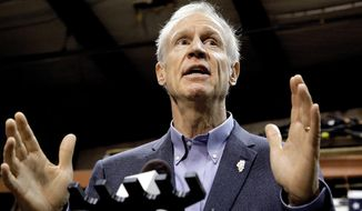 FILE - In this Wednesday, Nov. 16, 2016, file photo, Illinois Gov. Bruce Rauner speaks to reporters after meeting with legislative leaders during veto session in Springfield, Ill. The General Assembly convenes Monday, Jan. 9, 2017, for just two days to finish its work before a new session begins Wednesday while the two-year budget standoff looms large. (AP Photo/Seth Perlman, File)