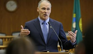 FILE - In this Thursday, Jan. 5, 2017, file photo, Washington Gov. Jay Inslee speaks during the annual AP Legislative Preview, at the Capitol in Olympia, Wash. Washington's Legislature begins Monday, Jan. 9. (AP Photo/Ted S. Warren, File)