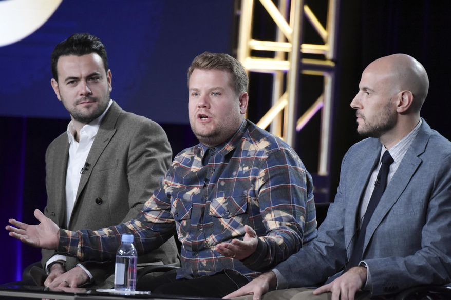 """Ben Winston, from left, James Corden and Eric Pankowski attend """"Carpool Karaoke (series for Apple Music)"""" panel at The CBS portion of the 2017 Winter Television Critics Association press tour on Monday, Jan. 9, 2017, in Pasadena, Calif. (Photo by Richard Shotwell/Invision/AP)"""