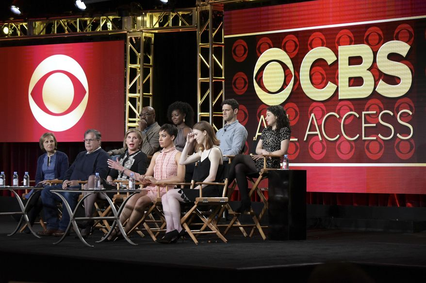 """Delroy Lindo, back row from left, Erica Tazel, Justin Bartha, Sarah Steele, Michelle King, Robert King, Christine Baranski, Cush Jumbo and Rose Leslie attend """"The Good Fight"""" panel at The CBS portion of the 2017 Winter Television Critics Association press tour on Monday, Jan. 9, 2017, in Pasadena, Calif. (Photo by Richard Shotwell/Invision/AP)"""