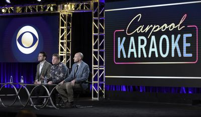 "Ben Winston, from left, James Corden and Eric Pankowski attend ""Carpool Karaoke (series for Apple Music)"" panel at The CBS portion of the 2017 Winter Television Critics Association press tour on Monday, Jan. 9, 2017, in Pasadena, Calif. (Photo by Richard Shotwell/Invision/AP)"