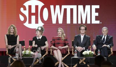 "From left, Laura Dern, Kimmy Robertson, Madchen Amick, Kyle MacLachlan and Robert Forster attend the ""Twin Peaks"" panel at the Showtime portion of the 2017 Winter Television Critics Association press tour on Monday, Jan. 9, 2017, in Pasadena, Calif. (Photo by Richard Shotwell/Invision/AP)"