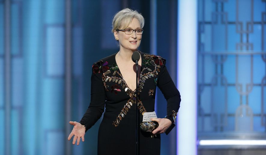This image released by NBC shows Meryl Streep accepting the Cecil B. DeMille Award at the 74th Annual Golden Globe Awards at the Beverly Hilton Hotel in Beverly Hills, Calif., on Sunday, Jan. 8, 2017. (Paul Drinkwater/NBC via AP)