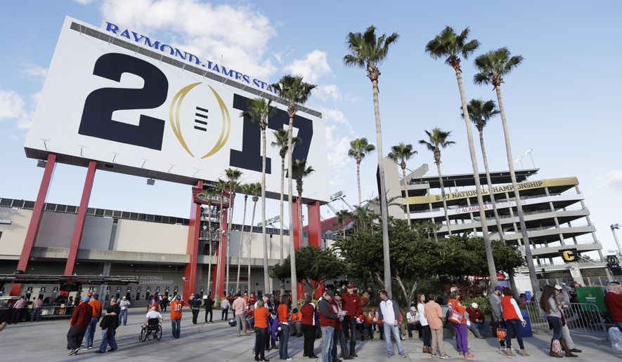 Raymond James Stadium is seen before the NCAA college football playoff championship game between Alabama and Clemson Monday, Jan. 9, 2017, in Tampa, Fla. (AP Photo/Chris O'Meara)