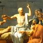 """""""The Death of Socrates,"""" by Jacques-Louis David, 1787. (History screenshot)"""