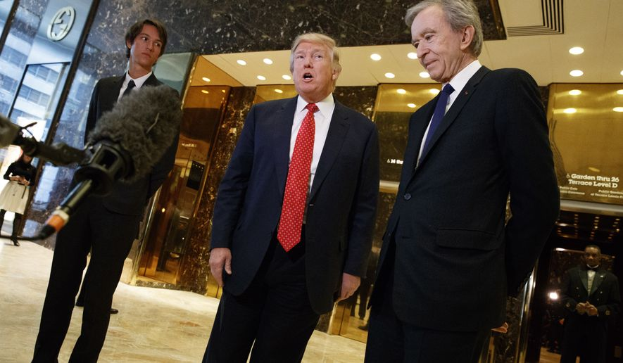 President-elect Donald Trump, accompanied by French businessman Bernard Arnault, speaks with reporters after a meeting at Trump Tower in New York, Monday, Jan. 9, 2017. (AP Photo/Evan Vucci)