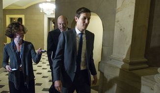 Jared Kushner, son-in-law of President-elect Donald Trump, right, and Gary Cohn, president and COO of Goldman Sachs arrive for a meeting with House Speaker Paul Ryan of Wis., on Capitol Hill, in Washington, Monday, Jan. 9, 2017. (AP Photo/Cliff Owen)