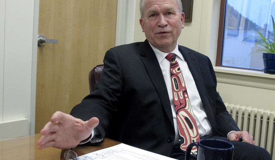 In this Dec. 6, 2016, photo, Alaska Gov. Bill Walker speaks during an interview in Juneau, Alaska. Addressing the state's multibillion-dollar budget deficit remains a top priority for Walker, who recently hit the halfway point of his four-year term. (AP Photo/Becky Bohrer)