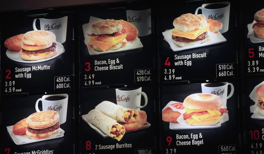 FILE - In this Sept. 12, 2012 file photo, items on the breakfast menu, including the calories, are posted at a McDonald's restaurant in New York. Restaurant and grocery chains scrambling to post calorie counts on their menus by spring have been peppering the Food and Drug Administration with queries that offer a window, often complex, occasionally comic, into the ingredient riddles they are trying to solve. (AP Photo/Mark Lennihan, File)