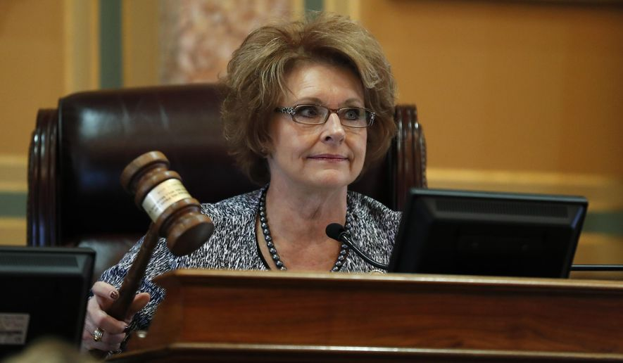 Iowa House Speaker Linda Upmeyer pounds the gavel during the opening day of the Iowa Legislature, Monday, Jan. 9, 2017, at the Statehouse in Des Moines, Iowa. (AP Photo/Charlie Neibergall)