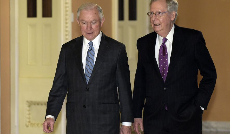 FILE - In this Nov. 30, 2016 file photo, Senate Majority Leader Mitch McConnell of Ky., right, walks with Sen. Jeff Sessions, R-Ala. on Capitol Hill in Washington. Senate Democrats will challenge Sessions, President-elect Donald Trump's pick for attorney general, over his hard-line stand on immigration, past record on civil rights and his support for community policing when he appears before the Senate Judiciary Committee. (AP Photo/Susan Walsh, File)