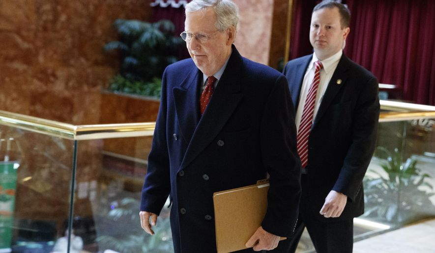 Senate Majority Leader Mitch McConnell of Ky. arrives at Trump Tower in New York, Monday, Jan. 9, 2017, for a meeting with President-elect Donald Trump. (AP Photo/Evan Vucci)