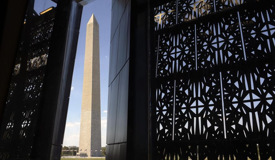 FILE - In this Sept. 14, 2016, file photo, the Washington Monument is framed by a window at the National Museum of African American History and Culture in Washington. The monument's lights have gone out for the second time in a week. The National Park Service said on its official Twitter account that power went out at the 555-foot-tall, marble and granite obelisk Monday evening, Jan. 9, 2017. (AP Photo/Susan Walsh, File)