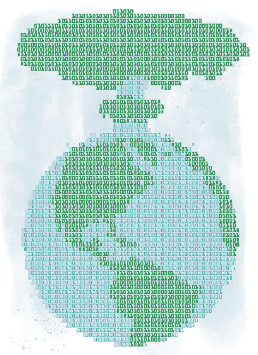 Danger of Cyberwarfare Illustration by Linas Garsys/The Washington Times