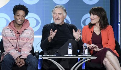 """Jermaine Fowler, from left, Judd Hirsch and Katey Sagal attend the """"Superior Donuts"""" panel at The CBS portion of the 2017 Winter Television Critics Association press tour on Monday, Jan. 9, 2017, in Pasadena, Calif. (Photo by Richard Shotwell/Invision/AP)"""