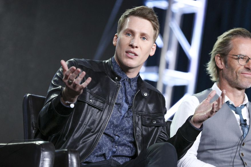 """Dustin Lance Black speaks at the """"When We Rise"""" panel at the Disney/ABC portion of the 2017 Winter Television Critics Association press tour on Tuesday, Jan. 10, 2017, in Pasadena, Calif. (Photo by Rich Fury/Invision/AP)"""