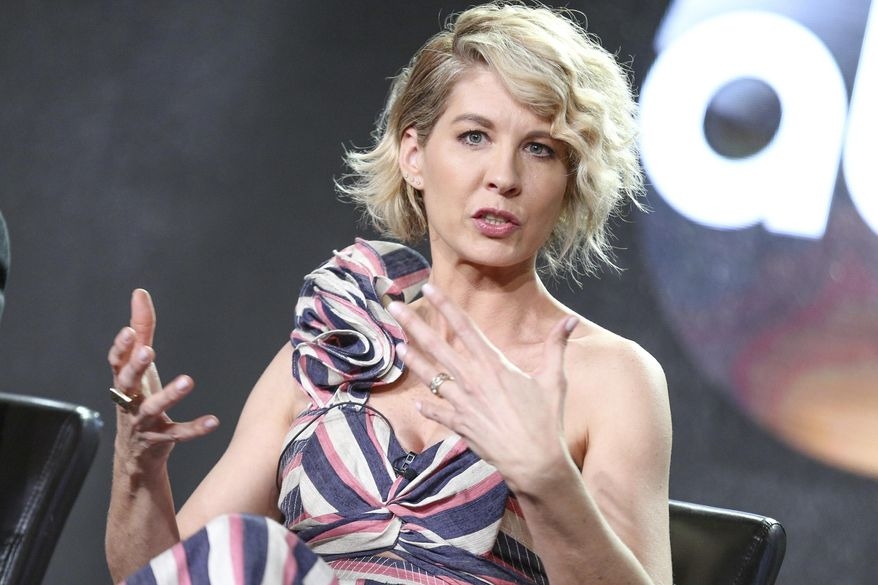 """Jenna Elfman speaks at the """"Imaginary Mary"""" panel at the Disney/ABC portion of the 2017 Winter Television Critics Association press tour on Tuesday, Jan. 10, 2017, in Pasadena, Calif. (Photo by Rich Fury/Invision/AP)"""