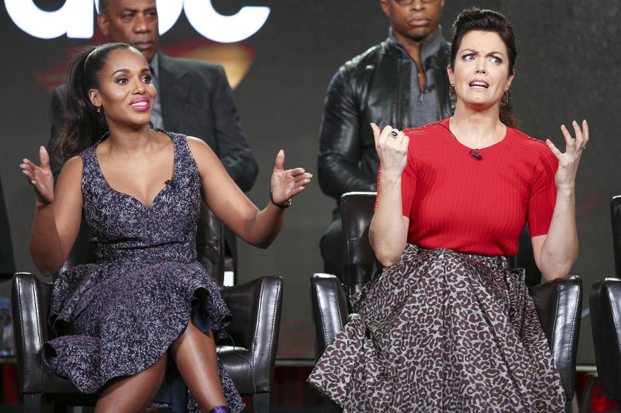 """Kerry Washington, left, and Bellamy Young speak at the """"Scandal"""" panel at the Disney/ABC portion of the 2017 Winter Television Critics Association press tour on Tuesday, Jan. 10, 2017, in Pasadena, Calif. (Photo by Rich Fury/Invision/AP)"""